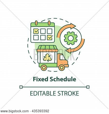 Fixed Schedule Concept Icon. Waste Management Abstract Idea Thin Line Illustration. Garbage Pickup C