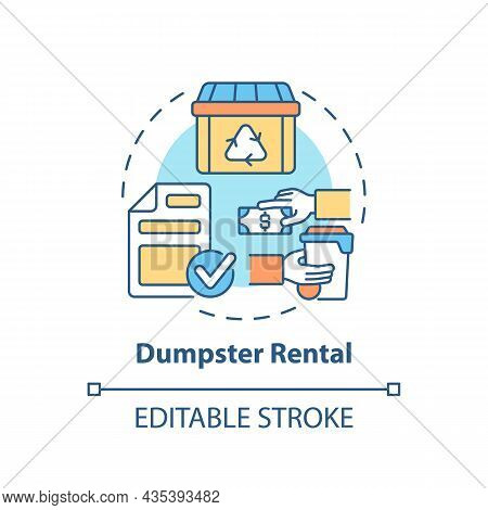 Dumpster Rental Concept Icon. Waste Management Service Abstract Idea Thin Line Illustration. Roll Of