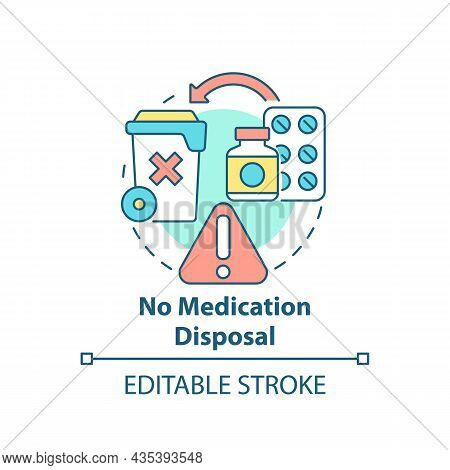 No Medication Disposal Concept Icon. Waste Management Abstract Idea Thin Line Illustration. Pharmace