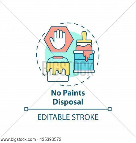 No Paints Disposal Concept Icon. Waste Management Abstract Idea Thin Line Illustration. Hazardous Tr