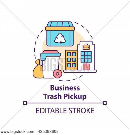 Business Trash Pickup Concept Icon. Waste Management Abstract Idea Thin Line Illustration. Commercia