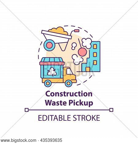Construction Waste Pickup Concept Icon. Waste Management Abstract Idea Thin Line Illustration. Demol