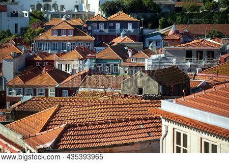 View of the resident houses in old town Porto, Portugal.