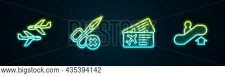 Set Line Plane, No Scissors, Airline Ticket And Escalator Up. Glowing Neon Icon. Vector
