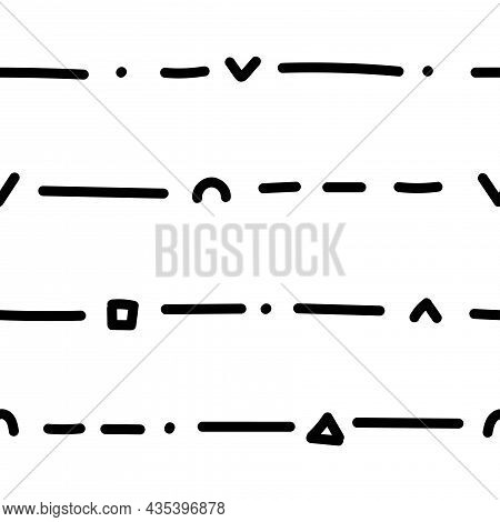 Seamless Abstract Pattern On White Background. Vector Wallpaper.  Graphic Contour Striped Ornament.