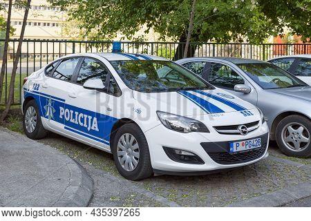 Podgorica, Montenegro - April 21 2019: Car Of The Traffic Police (saobracajna Policija) Parked Outsi