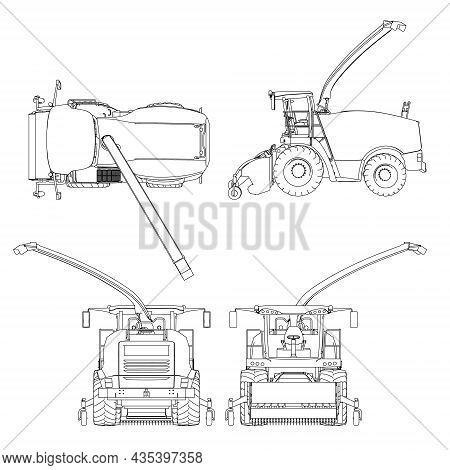 Set With Combine Harvester From Black Lines Isolated On White Background. Side View, Top, Front, Bac