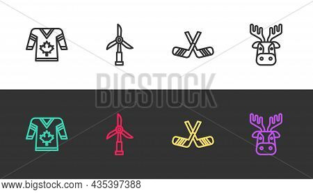 Set Line Hockey Jersey, Wind Turbine, Ice Hockey Sticks And Deer Head With Antlers On Black And Whit