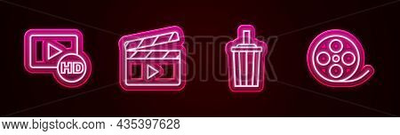 Set Line Hd Movie, Tape, Frame, Movie Clapper, Paper Glass With Water And Film Reel. Glowing Neon Ic