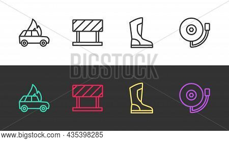 Set Line Burning Car, Road Barrier, Fire Boots And Ringing Alarm Bell On Black And White. Vector