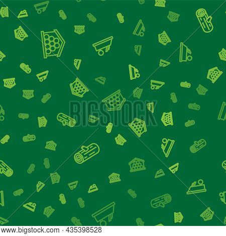 Set Line Wooden Logs, And Plane Tool On Seamless Pattern. Vector