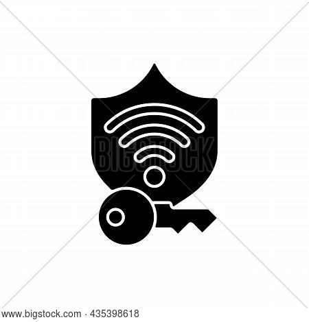 Protected Wifi Password Black Glyph Icon. Internet Safety. Private Network. Wireless Connection. Onl