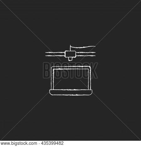 3d Printed Laptop Chalk White Icon On Dark Background. Electronics Fabrication. Additive Manufacturi