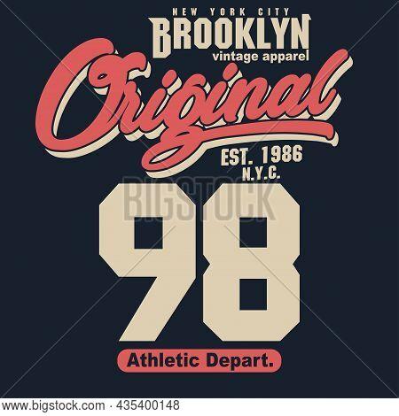 Sport T-shirt Graphics. New York Brooklyn Athletic Apparel Design. Vector