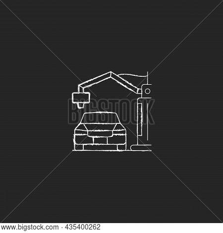 3d Printed Automobile Chalk White Icon On Dark Background. Innovative Automotive Project. Car Protot