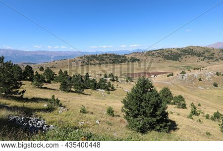 Panorama Of The Hills Mountains In The Abruzzo Region In Central Italy Without People