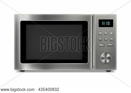 Realistic Microwave Isolated On White Background. Front View Of Stainless Steel Over The Range Micro