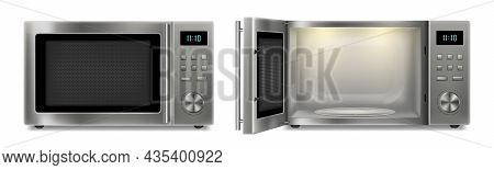 Realistic Microwave Oven On A White Background. Open And Closed Stainless Steel Microwave Oven. Hous