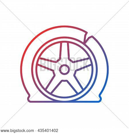 Tyre Damage Gradient Linear Vector Icon. Vehicle Accident. Car Tire Defects. Bad Road Conditions. Ti
