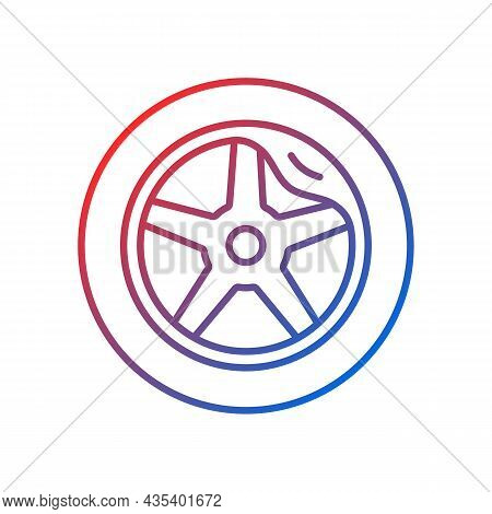 Wheel Damage Gradient Linear Vector Icon. Collision Damaged Vehicle. Driving On Cracked Rim. Uneven