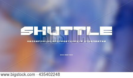Sans Serif Font In Cyber Style. Letters And Numbers For Sci-fi Logo And Emblem Design. Vector Illust