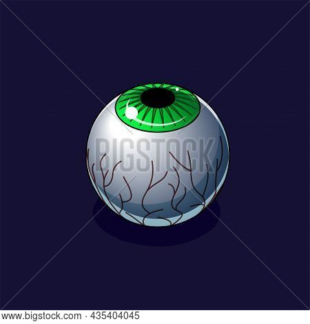 Green Creepy Eyeball On A Dark Background. Isometric Icon. Design Element For Halloween And Horror I