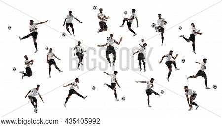 Collage Made Of Shots Of One African Professional Football Soccer Player With Ball In Motion, Action