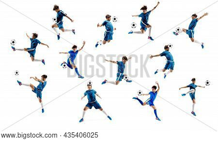 Collage Made Of Shots Of One Professional Football Soccer Player With Ball In Motion, Action Isolate