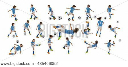 Collage Made Of Shots Of One Little Boy, Football Soccer Player With Ball In Motion, Action Isolated