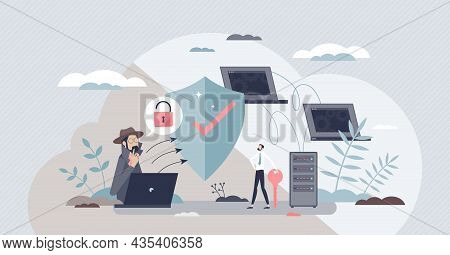 Network Security And Safe Data File Storage With Shield Tiny Person Concept. Information Protection