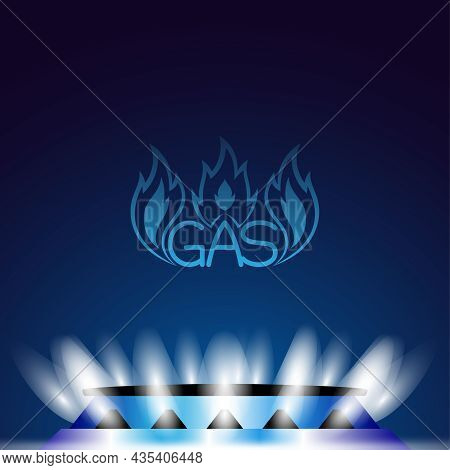 Illustration With Gas Burner And Natural Gas On Blue Background.
