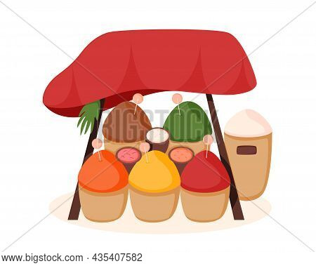 Arab Or Asian Stall Counter. Colorful Outdoor Market Or Bazaar. Organic Farm Products. Flat Cartoon