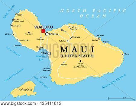 Maui, Hawaii, Political Map With Capital Wailuku. Part Of Hawaiian Islands And Hawaii, A State Of Th
