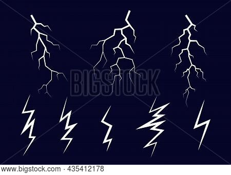 Lightning, Electrostatic Discharge During Thunder Bolt, Different White Line On Black Sky. Collectio