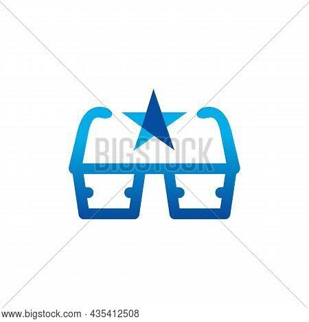 Three Dimensional Glasses Star Logo Icon Flat Vector Concept Graphic Design