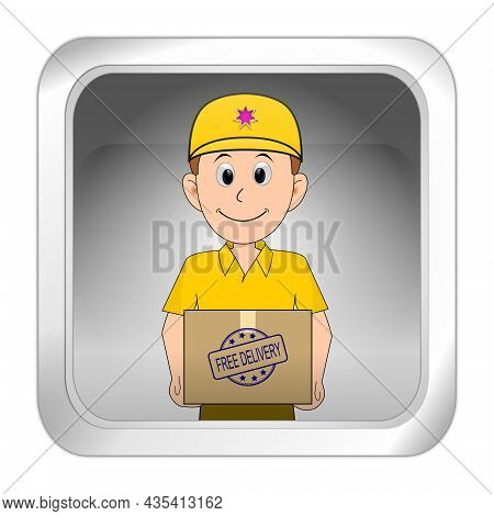 Button Silver With Friendly Courier Delivering A Parcel With Free Delivery Rubber Stamp - 3d Illustr