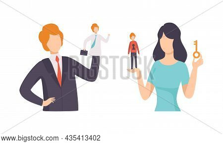 Manipulation Of People With Controlled Tiny Man On The Hand Of Giant Woman Character Vector Set