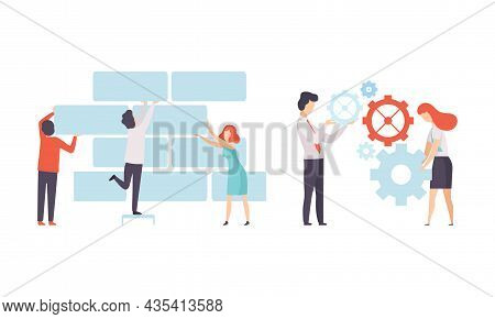 Office Colleague Working Together Laying Bricks And Spinning Gear Vector Set