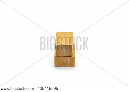 Isolated Two Brown Paper Boxes Postal Package From Shopping Online, Is Delivered To The Buyer. It's