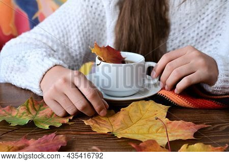 Close-up Of Girl's Hands In Knitted White Sweater Holding Cup Of Tea, Yellow Autumn Leaves And Warm