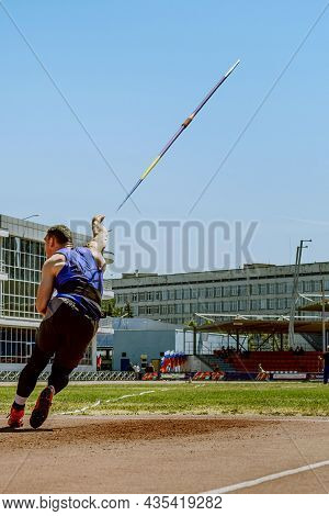 Javelin Throwing Male Athlete Attempt At Athletics Competition