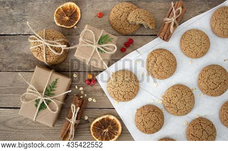 Christmas Composition. Christmas Gifts, Pine Cones, Christmas Cookie, Christmas Decorations. Eco Dec