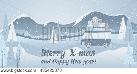 Horizontal Christmas Background With Landscape And Car With Gift Box In Cartoon Flat Design In Blue