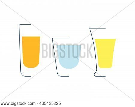 Rum Vodka And Tequila Glass In Minimalist Linear Style. Contour Of Glassware On Left Side In Form Of