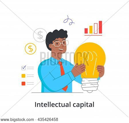 Intellectual Capital Concept. Man Holds Large Light Bulb And Comes Up With Ideas To Increase Income.