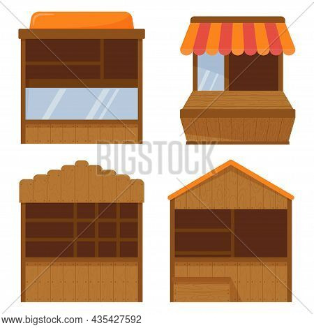 Set Of Four Wooden Stall Counters In Flat Style