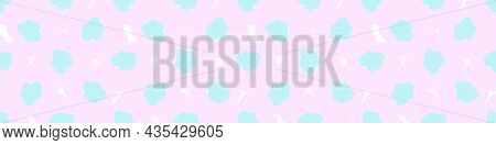 Playful Neon Floral Seamless Vector Border. Colorful Bold Flowers In Retro Silhouette Style. Hand Dr