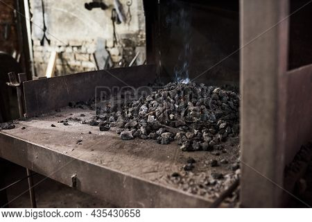 Image Of Heap Of Hot Coal In The Furnace At The Factory