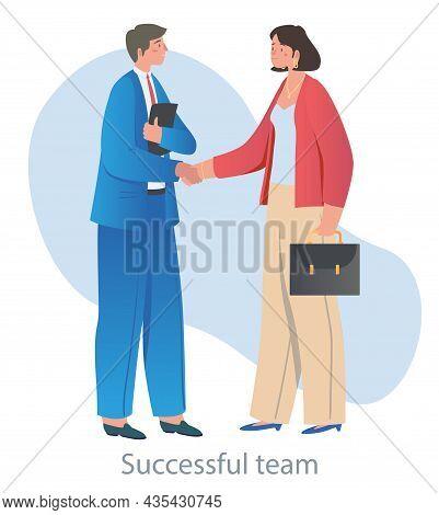 Negotiation Between Man And Woman. Business Meeting, Businessmen, Advantageous Offer, Successful Dea