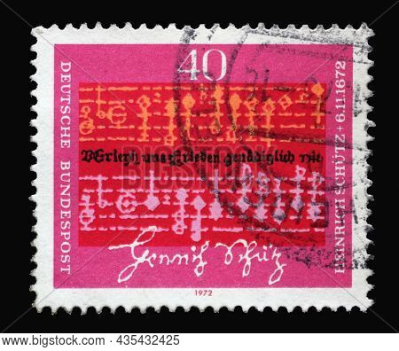 ZAGREB, CROATIA - JUNE 27, 2014: Stamp printed in Germany shows Notes and text by Heinrich Schutz (1585-1672), Composer, 300th Death Anniversary of Heinrich Schutz, circa 1972